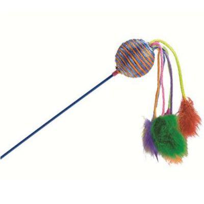 Beeztees - Beeztees 430260 Çıngıraklı Peluş Renkli Kedi Oltası 60 cm
