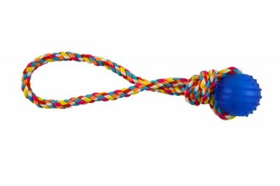 Imac - IMAC Mamiglia İn Corda Con Palla Köpek Kauçuk Oyuncaklı İp 34 cm