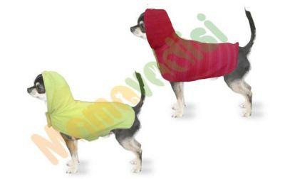 Diğer - Kapüşonlu Çift Taraflı Köpek Kıyafeti ÇizgiPembe Sarı