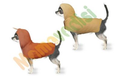 Diğer - Kapüşonlu Çift Taraflı Köpek Kıyafeti Koyukahve Krem
