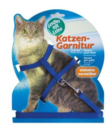Diğer - Katzen Kedi Göğüs Tasma Seti Mavi