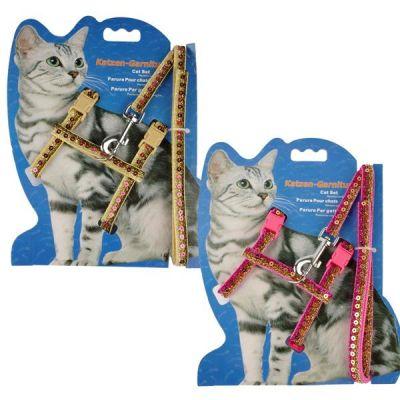 Diğer - Katzen Kedi Göğüs Tasma Seti Pullu