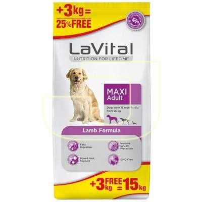 La Vital - La Vital Büyük Irk Kuzulu Yetişkin Köpek Maması 12+3KG HEDİYELİ