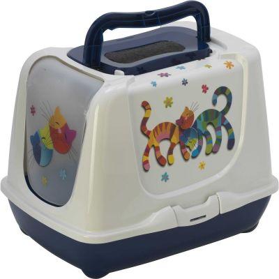 - Moderna Trendy Friends Filtreli Kapalı Kedi Tuvaleti 50 cm Lacivert