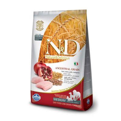 N&D - N&D Düşük Tahıllı Tavuklu Narlı Yetişkin Köpek Maması 12 KG
