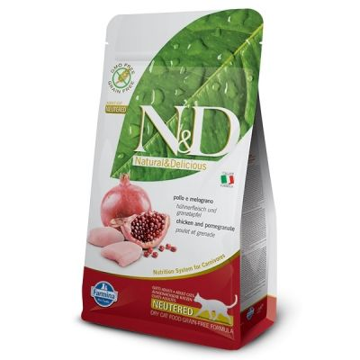 N&D - N&D Tahılsız Tavuk ve Narlı Kısırlaştırılmış Kedi Maması 1,5 Kg
