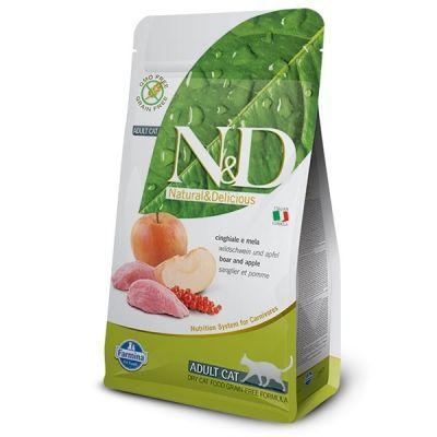 N&D - N&D Tahılsız Yaban Domuzu ve Elmalı Kedi Maması 1,5 kg