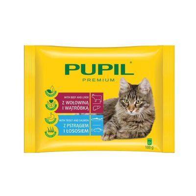 Diğer - Pupil Biftek & Ciğer - Alabalık & Somon Kedi Pouch 4x100 Gr
