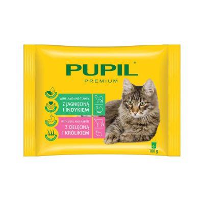 Diğer - Pupil Kuzu & Hindi - Dana & Tavşan Kedi Pouch 4x100 Gr