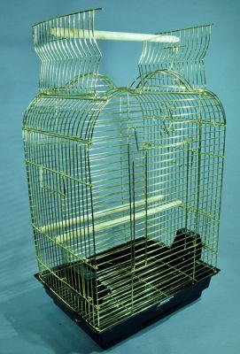 QH PET CAGE - Qh Pet Cage Açılır Çatılı Papağan Kafesi Pirinç 47x36x70 cm
