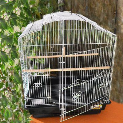 QH PET CAGE - Qh Pet Cage Oval Çatılı Krom Kafes 47x36x56 cm