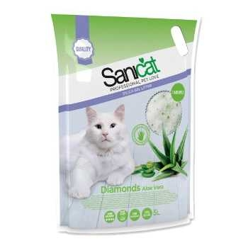 Sanicat - Sanicat Diamonds Aloe Vera Aromalı Silika Kedi Kumu 5 Lt