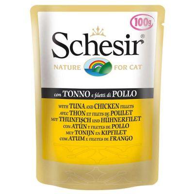 Schesir - Schesir Jelly Ton Balıklı ve Tavuklu Kedi Konservesi 100 Gr