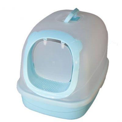 Diğer - Şeffaf Kapalı Kedi Tuvaleti Mavi Alt 63x46x47