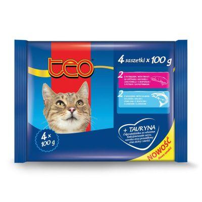 Diğer - Teo Pouch Somonlu & Alabalıklı Kedi Konservesi 4x100 Gr