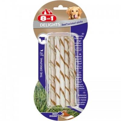 8 in 1 - 8in1 Delights Bones Biftekli Köpekler İçin Twested Sticks 10 Lu