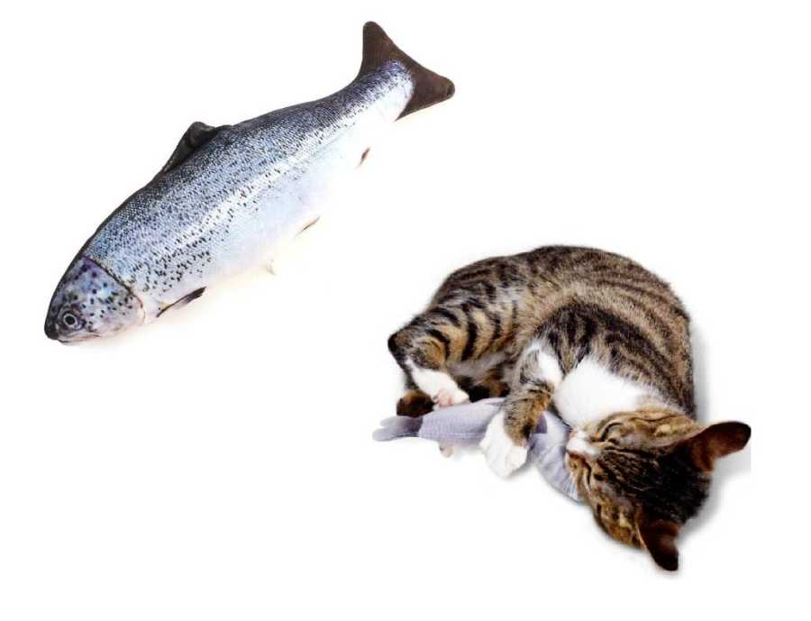 Miapet Balık Şeklinde Peluş Kedi Köpek Oyuncağı 35 Cm