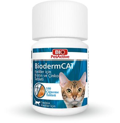 Bio Petactive - Bio PetActive Bioderm Kediler İçin Tüy ve Deri Bakım Tableti 100 ADET
