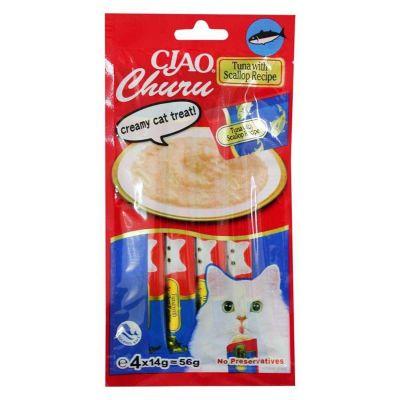 Ciao - Ciao Tuna Balıklı ve Deniz Tarağı Kedi Sıvı Atıştırmalık Ödül 56 gr