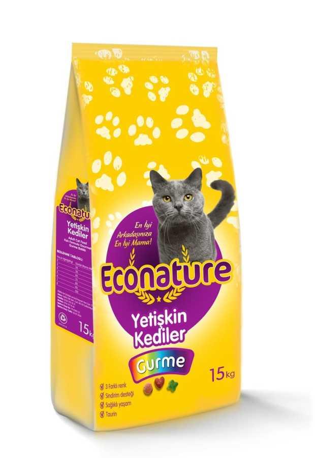EcoNature Renkli Taneli Balıklı Yetişkin Kedi Maması 15 KG