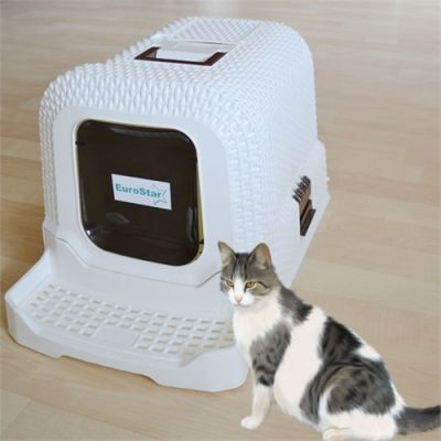 EUROSTAR - EuroStar Basamaklı Kapalı Kedi Tuvaleti 69x42x41cm (Beyaz) [XL]