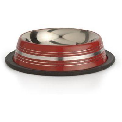 Inox - İnox Çizgili Mama ve Su Kabı 180 ml Kırmızı