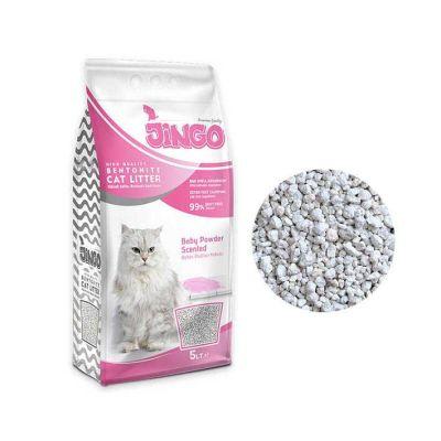 Jingo - Jingo Bebek Pudrası Kokulu Bentonit Kedi Kumu Kalın Taneli 5 L