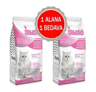 Jingo - Jingo Bebek Pudrası Kokulu Bentonit Kedi Kumu Kalın Taneli 5 L - 2 ADET