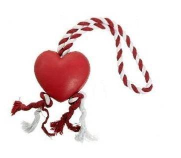 Karlie - Karlie İpli Kalp Köpek Oyuncağı Kırmızı/Beyaz 8Cm K46938