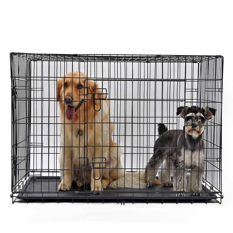 Lion İki Kapılı Katlanabilir Metal Köpek Kafesi 122x76x84Cm