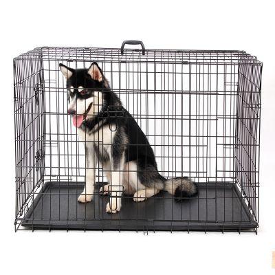 Lion - Lion İki Kapılı Katlanabilir Metal Köpek Kafesi 91x58x64Cm