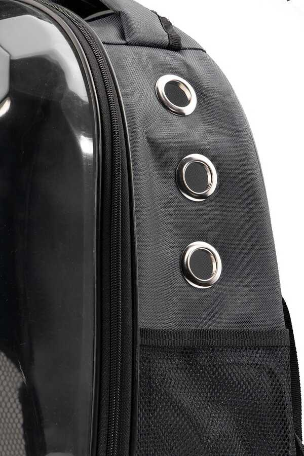 Miapet Corner Şeffaf Astronot Kedi Köpek Taşıma Çantası 42x22x33 Cm Siyah