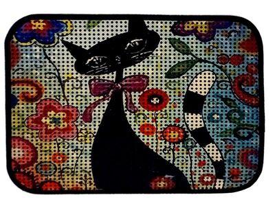 Miapet - Miapet Elekli Desenli Kedi Tuvalet Önü Paspası 60 x 45 cm Çiçekler