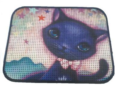 Miapet - Miapet Elekli Desenli Kedi Tuvalet Önü Paspası 60 x 45 cm Mavi Kedi