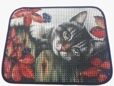 Miapet - Miapet Elekli Desenli Kedi Tuvalet Önü Paspası 60 x 45 cm Gri Kedi