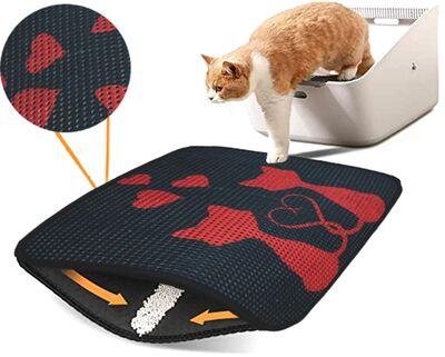Miapet - Miapet Elekli Desenli Kedi Tuvalet Önü Paspası 60 x 45 cm Kalpli Kediler