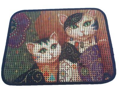 Miapet - Miapet Elekli Desenli Kedi Tuvalet Önü Paspası 60 x 45 cm Maske