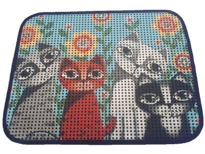 Miapet - Miapet Elekli Desenli Kedi Tuvalet Önü Paspası 60 x 45 cm Papatya