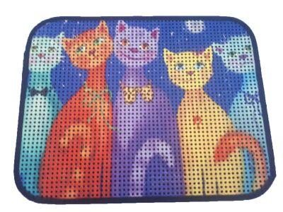 Miapet - Miapet Elekli Desenli Kedi Tuvalet Önü Paspası 60 x 45 cm Papyonlu Kedi