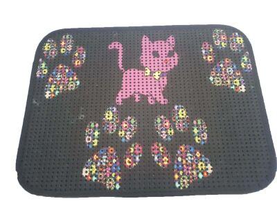 Miapet - Miapet Elekli Desenli Kedi Tuvalet Önü Paspası 60 x 45 cm Pembe Kedi