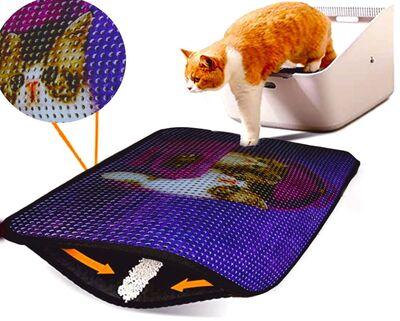 Miapet - Miapet Elekli Desenli Kedi Tuvalet Önü Paspası 60 x 45 cm Sepette İki Kedi