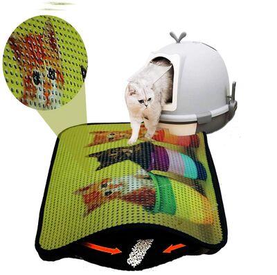 Miapet - Miapet Elekli Desenli Kedi Tuvalet Önü Paspası 60 x 45 cm Sepette Üç Kedi