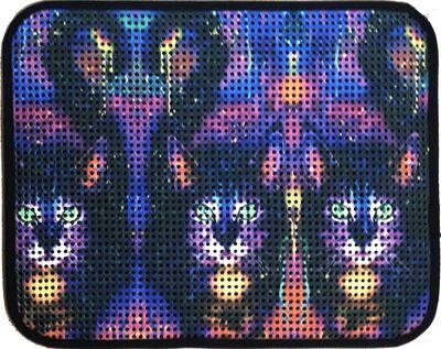 Miapet - Miapet Elekli Desenli Kedi Tuvalet Önü Paspası 60 x 45 cm Üç Kedi