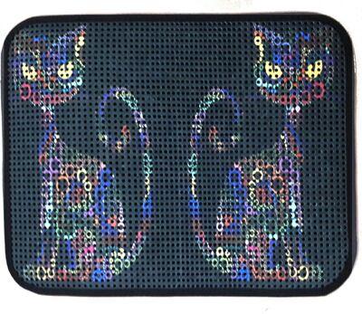 Miapet - Miapet Elekli Desenli Kedi Tuvalet Önü Paspası 60 x 45 cm Yan Kediler