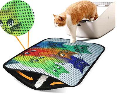 Miapet - Miapet Elekli Desenli Kedi Tuvalet Önü Paspası 60 x 45 cm Yedi Kedi