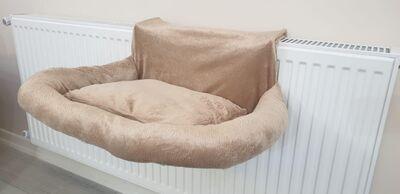 Miapet - Miapet Kalorifer Üstü Askılı Lüks Yastıklı Kedi Yatağı 47x35 cm Bej