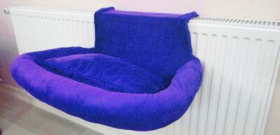 Miapet - Miapet Kalorifer Üstü Askılı Lüks Yastıklı Kedi Yatağı 47x35 cm Saks Mavi