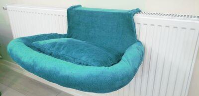 Miapet - Miapet Kalorifer Üstü Askılı Lüks Yastıklı Kedi Yatağı 47x35 cm Turkuaz
