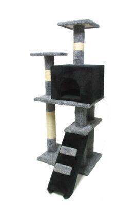 Miapet - Miapet Lüks Kedi Evi ve Tırmalama Miss Cat Siyah 55x45x130 cm