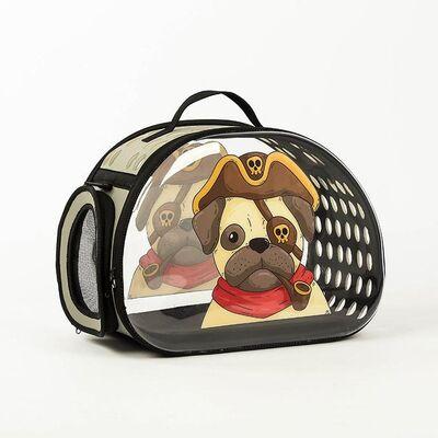 Miapet - Miapet Şeffaf Desenli Kedi Köpek Taşıma Çantası 42 x 26 x 35 cm Korsan